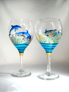 Blue Dolphin Goblet Glasses Hand Painted Glassware