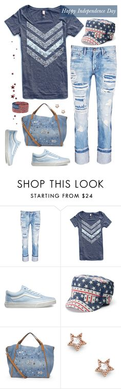 """Happy Independence Day"" by musicfriend1 ❤ liked on Polyvore featuring Tortoise, Vans and Sole Society"