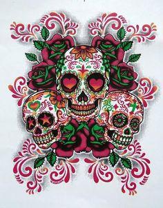 Day of the Dead Three Sugar Skulls UNISEX ADULT Short Sleeve T Shirt 17606