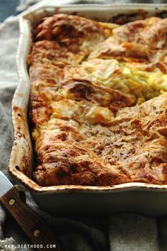 Feta Cheese Egg Casserole: Delicious Egg Casserole with a feta cheese and eggs mixture nestled between buttery and flaky phyllo sheets. Breakfast Dessert, Breakfast Dishes, Breakfast Time, Best Breakfast, Breakfast Recipes, Breakfast Ideas, Dinner Recipes, Egg Casserole, Breakfast Casserole