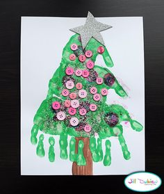 Handprint Christmas Tree {Christmas Crafts for Kids}---substitute buttons for pom pom balls! Childrens Christmas Crafts, Preschool Christmas, Christmas Activities, Preschool Crafts, Holiday Crafts, Daycare Crafts, Kid Activities, Kid Crafts, Holiday Ideas