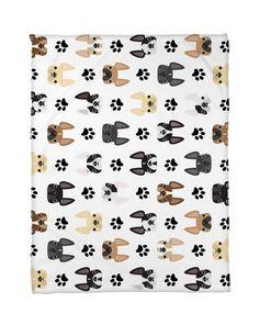 Frenchie Faces Fleece Blanket - Large #frenchbulldog #frenchietowel #frenchie #bulldog #dogs #frenchbulldoggifts #frenchieblanket #dogblanket #frenchieblanket