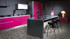 Pink-kitchen - Could this be a new trend? Vibrant colours to spice of the focal point of any home!