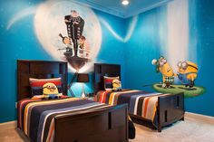 Minions! Great idea for a shared boys' bedroom.