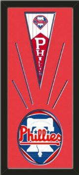 Philadelphia Phillies Wool Felt Mini Pennant & Philadelphia Phillies Team Logo Photo - Framed With Team Color Double Matting In A Quality Black Frame-Awesome & Beautiful