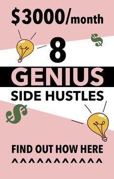 FREE TRANING 8 genius side hustles to make money now. Here are some side hustle ideas for women Earn More Money, Earn Money From Home, Earn Money Online, Make Money Blogging, Online Jobs, Money Tips, Money Hacks, Online Income, Make Side Money