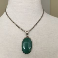 """Vintage Aventurine and Sterling Silver Necklace Vintage Sterling Silver heavy necklace with large Aventurine pendant. necklace is stamped 925 on the clasp of the chain and under the clasp of the pendant. This is a vintage piece and there is some tarnish. Necklace is 16"""" Jewelry Necklaces"""
