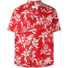 Saint Laurent Hibiscus floral print shirt ($750) ❤ liked on Polyvore featuring men's fashion, men's clothing, men's shirts, men's casual shirts, red, men's spread collar dress shirts, men's flower print shirt, mens red shirt, mens straight hem shirts and mens print shirts