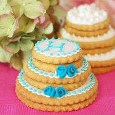 Personalized Stacked Wedding Cookie Cake by Beau-coup