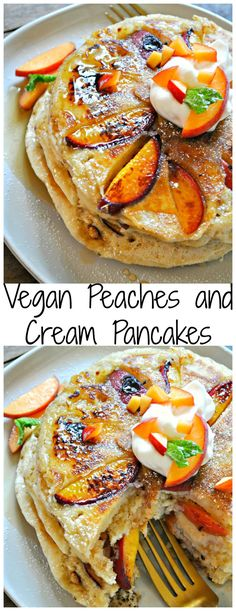 Vegan Peaches and Cream Pancakes - Rabbit and Wolves