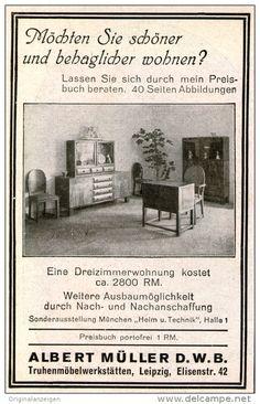 Original-Werbung/ Anzeige 1928 - MÖBEL ALBERT MÜLLER  LEIPZIG -  ca. 70 x 110 mm