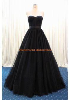 Romantic A-linie Lange Schwarze Abendkleider aus Organza