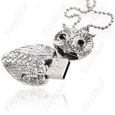8 GB Crystal cute owl shape Pendant Memory Stick . USB flash drive Necklace $29.99