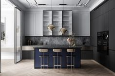 Grey Based Neoclassical Interior Design With Muted & Metallic Accents Kitchen – Home Decoration Apartment Interior Design, Interior Design Kitchen, Kitchen Decor, Design Bathroom, Neoclassical Interior Design, Home Luxury, Grey Kitchen Designs, Appartement Design, Cuisines Design