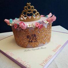 Princess themed cake. Edible gold lace