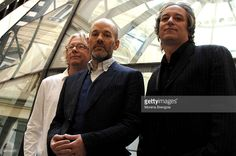 Mike Mills, Michael Stipe and Peter Buck of the American band REM pose for a group portrait at the launch of their album 'Accelerate' on March 18th, 2008 in Milan, Italy.