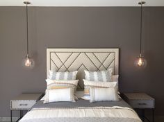 35 Ideas Master Bedroom Lighting Pendant Beds For 2019 Bedside Pendant Lights, Pendant Lighting Bedroom, Living Room Lighting, Bedside Lighting, Dream Bedroom, Home Bedroom, Master Bedroom, Bedroom Decor, Bed Linen Sets