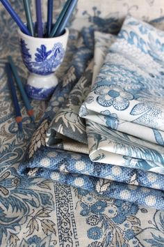 TG interiors: Blue and White textiles for home decoration.