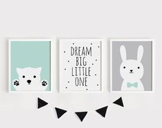 Printable Nursery Art Set of 3 Poster Baby room Wall art Kids room decor Mint Gray Black Puppy, Dream big little one, Bunny print set