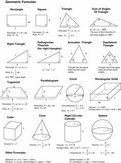 Geometric Formulas, Geometric Shapes, Math Formula Chart, Algebra Formulas, Physics Formulas, Gcse Math, Maths Solutions, Math Notes, Math Vocabulary