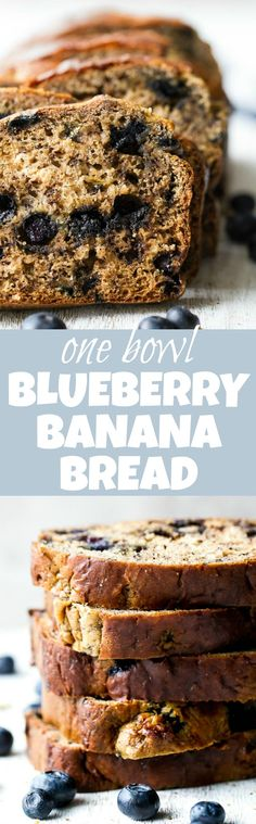 This one bowl Greek Yogurt Blueberry Banana Bread is made without butter or oil, but so tender and flavourful that you'd never be able to tell! Naturally sweetened and bursting with blueberry flavour, it makes a delicious healthier alternative to a traditional favourite! | runningwithspoons.com