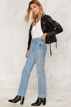 After Party by Nasty Gal Holed Up Grommet Jeans - After Party | Best Sellers | Denim | Skinny