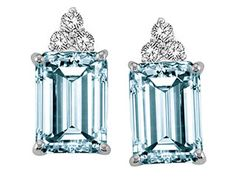#Aquamarine and #Diamond #Earrings