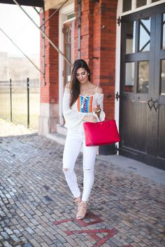 embroidered cold shoulder top, off the shoulder top, spring style, spring fever, spring outfit ideas, spring outfits, red tory burch robinson pebbled tote, colorful outfit, embroidered top // grace wainwright from a southern drawl