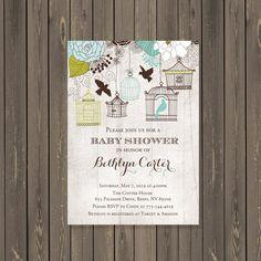 Bird Baby Shower Invitation, Rustic Bird Cage Baby Shower Invitation, Feather the Nest Baby Shower, Gender Neutral, Printable or Printed