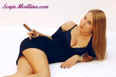 #SonjaMontana #blonde #babe with #cigar #minidress
