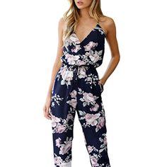 YunYoud Damen Overall Frau Ärmellos V-Ausschnitt Spielanzug Frauen Mode  Floral Bedruckt Party Hose Rückenfrei Bandage Jumpsuit Beiläufig Sommer  Kleidung (M ... a3e642733c