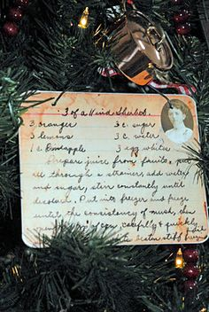 Make handwritten family recipe card into ornaments - scan and print, send with a homemade batch or a baking dish/tool.