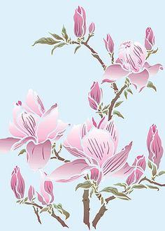 Magnolia Stencil Magnolia Flower Stencils Magnolia Blossom Stencils