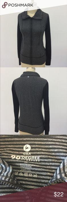 Stripe -zip up workout jacket Black & grey zip up workout jacket 90 degrees  Tops Sweatshirts & Hoodies