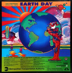 earth day 1995 peter max - Google Search Beautiful Rabbit, Day Schedule, Neo Expressionism, Sold Sign, Environmentalist, Earth Day, 25th Anniversary, American Flag, Planets