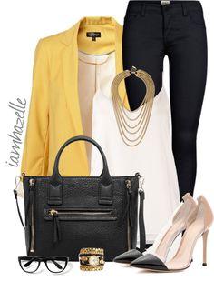 yellow blazer stylish work outfit bmodish