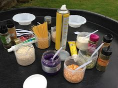 Potion Making (or Georg's Marvellous Medicine for older children than this). Could adapt this activity as a messy play, sensory activity which also works on ILS skills/fine motor. Roald Dahl Activities, Eyfs Activities, Nursery Activities, Activities For Kids, Preschool Projects, Activity Ideas, Outdoor Activities, Kids Crafts, Tuff Spot