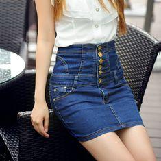 Cheap Nueva Moda de Verano Damas Pantalones Vaqueros Falda Azul Negro Frontal…