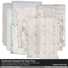 Cambrianna Roughed Up Paper Pack worn and torn patterned papers in dirty pastels #designerdigitals