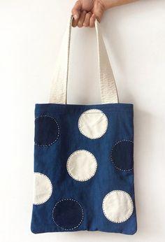 Shibori Indigo & Boro style Tote bags - Japanese Vintage Blue Homespun Shopping bag - Cotton Fabric - Natural hand dyed/ Plant dye - Tie dye