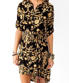 High-Low Scarf Print Shirtdress | FOREVER21 - 2021840868