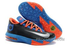 "47b25221d900 Nike Kevin Durant KD 6 VI ""OKC Away"" Black Metallic Silver-Team Orange-Photo  Blue For Sale New"