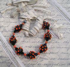 "On Sale-Black and orange lampwork bracelet 7"" - Handmade Jewelry - Artisan Crafted-Halloween. $22.00, via Etsy."