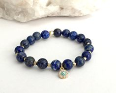 8mm Natural Round Lapis Lazuli Gemstone Stretch Bracelet, AA Quality Beads Reiki Charged Handcrafted Smudge Infused