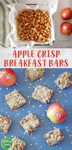 Take your breakfast on-the-go with these Apple Crisp Breakfast Bars. Just layer your ingredients and bake for a healthy, delicious way to start the day. Perfect for a make-ahead breakfast, grab and go snack or even as dessert! Recipe modifications included to make gluten-free, vegan or dairy-free. Breakfast Bars Healthy, Breakfast On The Go, Make Ahead Breakfast, Healthy Appetizers, Healthy Dessert Recipes, Recipe Modifications, Dairy Free, Gluten Free, Apple Crisp