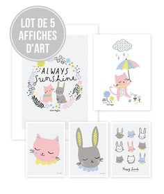 Lot affiches enfant chats - Lilipinso