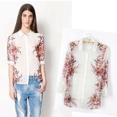 New Arrival High Fashion Beautiful Women's Flower Printing Half Sleeve Shirt Blouses Tops  2014 Autumn Winter SFAT100 $16.34