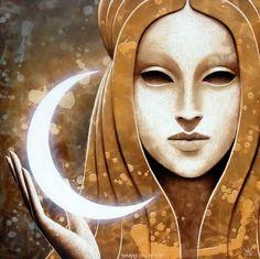 Art By Matteo Arfanotti - masks we wear Triple Goddess, Moon Goddess, Goddess Art, Fantasy Kunst, Fantasy Art, Wicca, Magick, Love Moon, Sun Moon Stars