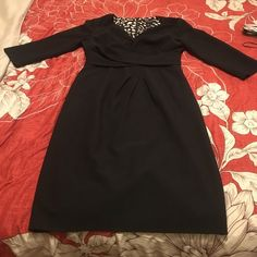 Black midi dress A white and Black size 6 midi dress. Just a little torn in the back as picture shown White House Black Market Dresses Midi