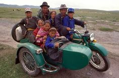 A family on a motorcycle in Mongolia. Ural Motorcycle, Cultural Diversity, Central Asia, World Cultures, Location History, Adventure Travel, Cute Babies, Transportation, Tourism